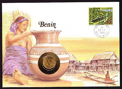 1989 Benin Africa stamp coin on cover Native with pot Village Buildings African