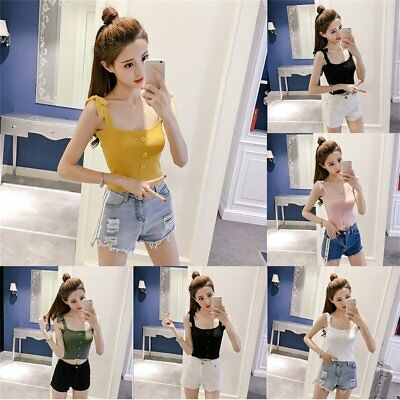 Summer Fashion Women Solid Color Button Vest Bandage Decorate Sleeveless Tops LN