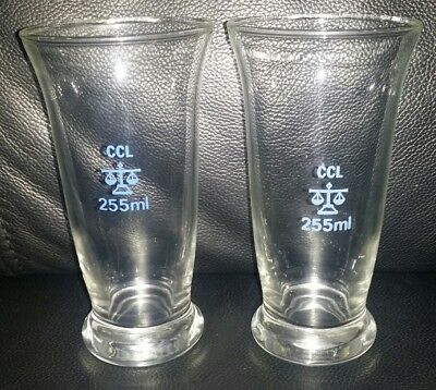 Pair Of Rare Collectable Vintage Pub Style Blue Scale Beer Glasses 255Ml Used
