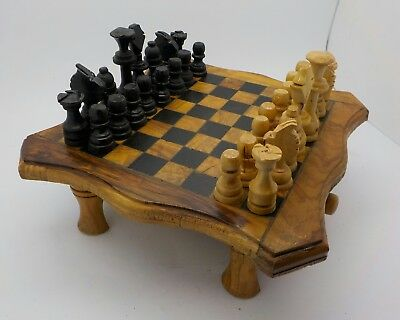 Hand Crafted Very Rustic Yet Rather Charming Wooden Chess Set & Board