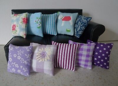 1/12th scale Doll's House cushions. 10 odd assorted , blue/purple/lilac