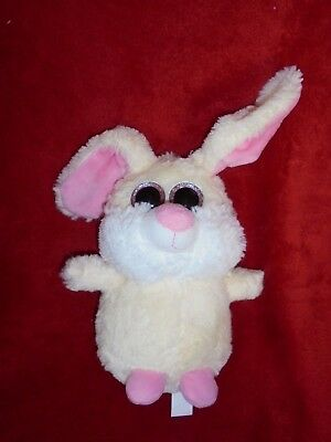 Doudou Fizzy Peluche Lapin Beige Blanc Rose Gros Yeux Neuf 2 Exemplaires dispos