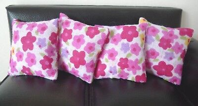 4 cushions for 1/12fth Dolls House.  Hot pink retro floral