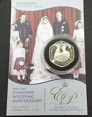 2007 silver proof Royal Mint £5 coin/ Alderney 28 grams.