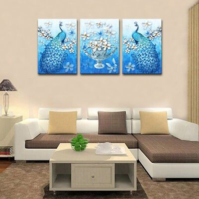 Blue Peacock Canvas Print Painting Animal Wall Art For Home Decor Framed Gifts