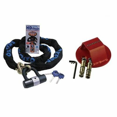 Oxford Motorcycle HD 1M Chain & RS Atom Motorbike Ground Wall Anchor Bundle New