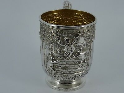 Splendid Solid Sterling Silver Embossed Christening Mug Cup Edinburgh 1912 191G