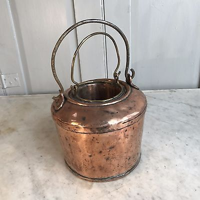 Antique copper glue pot