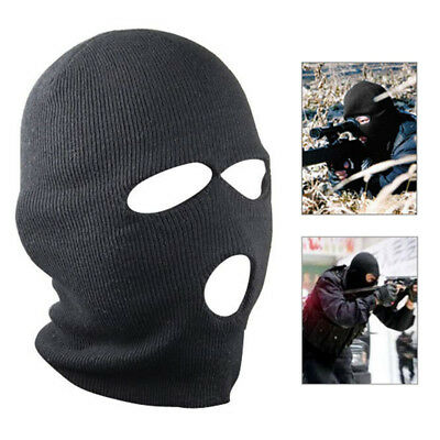 3 Hole Black Balaclava SAS Style Mask Neck Warmer Ski Hat Paintball Hunt Fishing