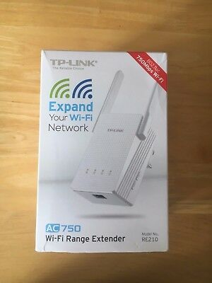 NEW** TP-LINK AC750 Wi-fi Wireless Range Extender Broadband Internet Model RE210
