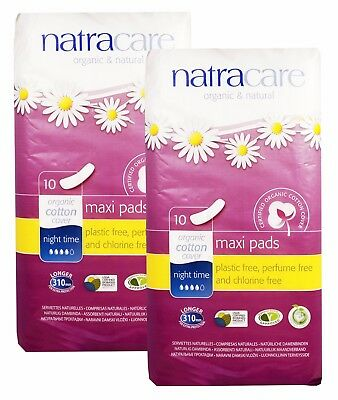 Natracare Organic & Natural Cotton Maxi Pads Night Time 10 Pads - (Pack Of 2)