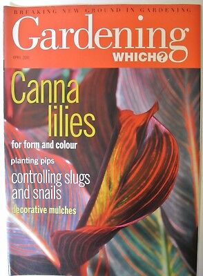 Gardening Which? Magazine. April, 2000. Canna lilies. Controlling slugs & snails