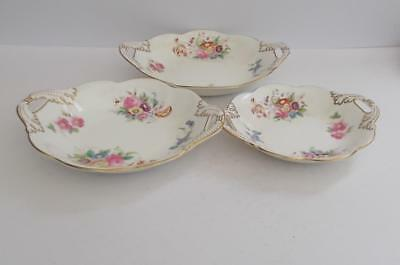 "Vintage Coalport ""Junetime"" Set of 3 Graduated Twin Handle Dishes."