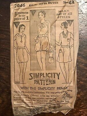 Antique 1920's Simplicity Sewing Pattern 7046 Girls' Gym Dress size 42 COMPLETE