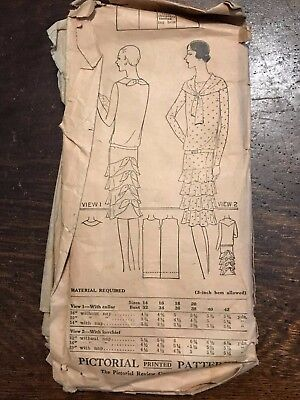 Antique 1920's Pictorial Sewing Pattern 4647 Women's Frock Dress sz 18 COMPLETE