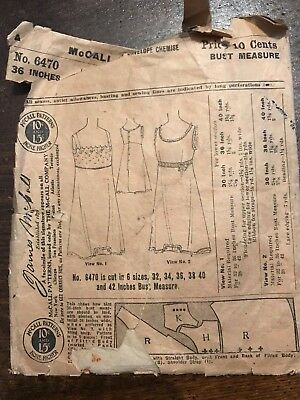 Antique 1908 McCall Sewing Pattern 4647 Ladies' Chemise size 36 COMPLETE