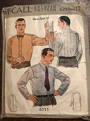 Vintage 1934 McCall Printed Sewing Pattern 6255 Men's Shirt size 17 COMPLETE