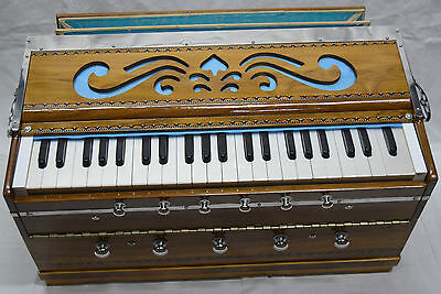 Professional Vertical Harmonium~Double Reed~Bellow~Teakwood Body~Natural Color