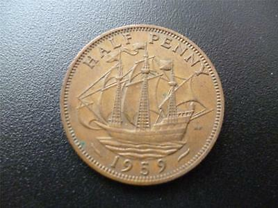 1959 Half Penny, Queen Elizabeth 2Nd, Bronze.