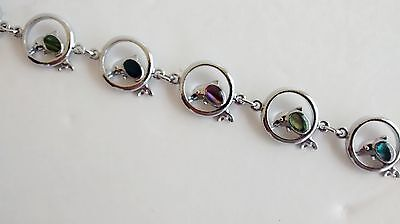 Natural Shell Jewelry Dolphin Design Bracelet Round Design with Paua Shell