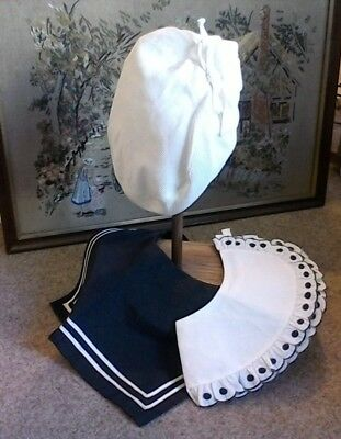 1920 Vintage Cute French Childs Sailor Cap/bibs/collar