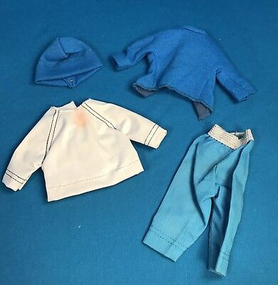 Vintage Madame Alexander Cissette White Vinyl Top, Blue Capri Pants Knit Hat LOT