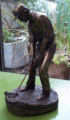 Bronzed Golfing Figurine Mid Swing Signed Dated 98 21 Cms Tall Vgc Golf Prize