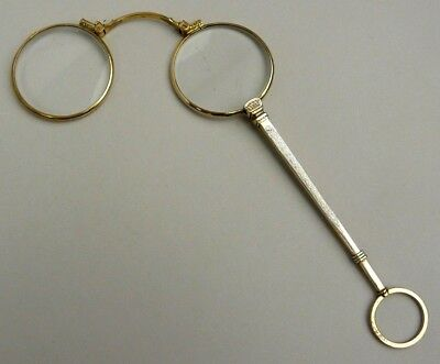 A Fine Antique Pair Of Gold Plated And Enamel Lorgnettes Circa 1900