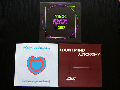 "3 Buzzcocks 7"" Picture Sleeves (Ever Fallen In Love... Promises, I Dont Mind)"