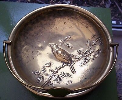 Aesthetic Movement Brass Dish With Handle Over Relief Decorative Bird 27 Cms Acr