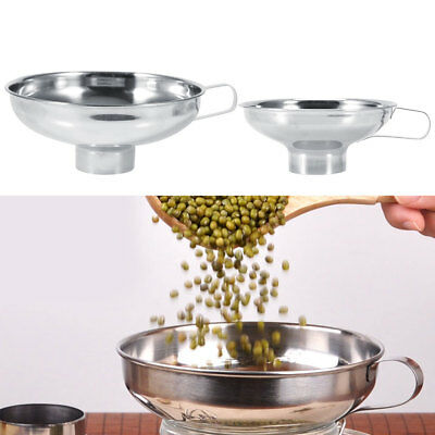 Stainless Steel Wide Mouth Canning Jar Funnel Cup Hopper Filter Kitchen Tool DQ