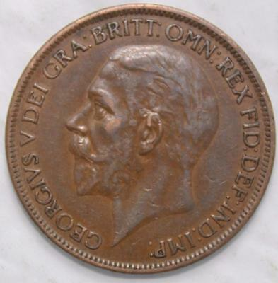 Great Britain 1927 Penny, Nice Grade, Old Date KGV