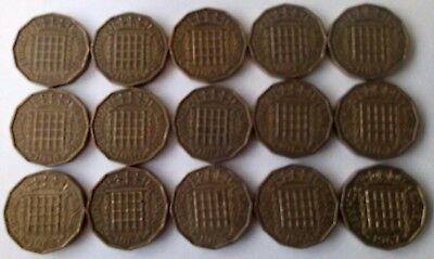 Three Penny Coin Elizabeth Ii 1953-1967 Choose Your Year Thruppenny Bit Free P+P