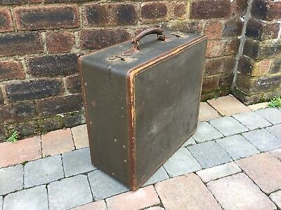 Old Fitted Leather Bound Box Suitcase Hanging Rail Inside Luggage