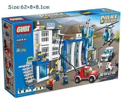 City Police Station Headquarters Department Model Policeman Building Blocks Toy