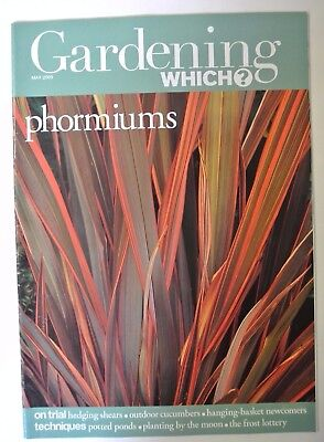 Gardening Which? Magazine. May, 2003. Phormiums. Outdoor cucumbers. Potted ponds