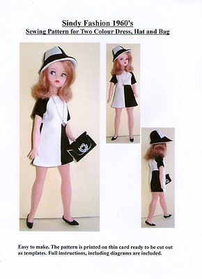 Sindy Sewing Pattern for 1960's Two Colour Dress, Hat and Bag.