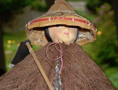 Vintage Taiwanese/Chinese Farmer Doll w/ Straw Hat and Fibrous Outer Garment
