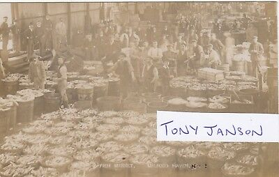 Real Photo MILFORD HAVEN Fish Market BUSY SCENE Rare
