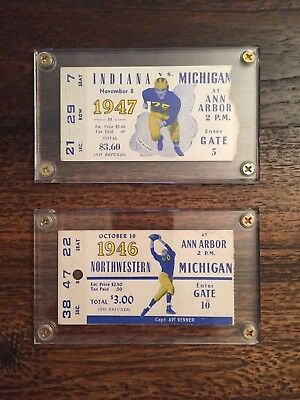 1946 and 1947 Michigan Football Ticket Stubs