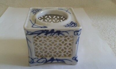 A Vintage, Oriental, Blue and White Porcelain Night Light Candle Holder.