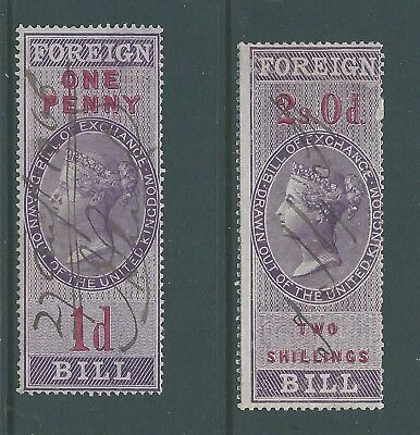 Queen Victoria Fiscal Revenues Stamps One Penny and Two Shillings Foreign Bill