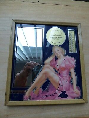 Vtg HOLT MOTOR Duluth Minn Advertising Mirror Thermometer Sexy Pin Up Sign
