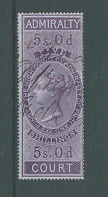 Queen Victoria Fiscal Revenues Stamp Five Shillings Admiralty Court - Scarce