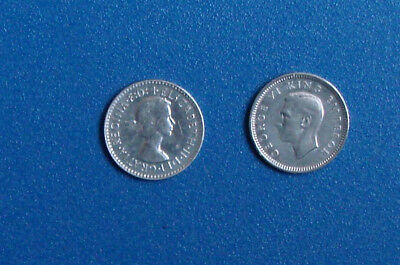 2 X threepence (Silver coins Great Britain and South Africa)