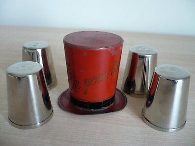 Rare Japanese Toleware Tin Plate Top Hat 'In Your Hat' with 4 Shot Tumblers