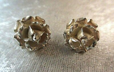 Vintage Sterling Silver Flower Floral Rosebud Earrings