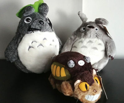 Lot de peluches Totoro gris anthracite & Chat Bus