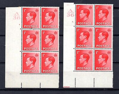 EVIII 1936 MINT 1d definitives pair SG 458 control A36 cylinder blocks 6 MNH