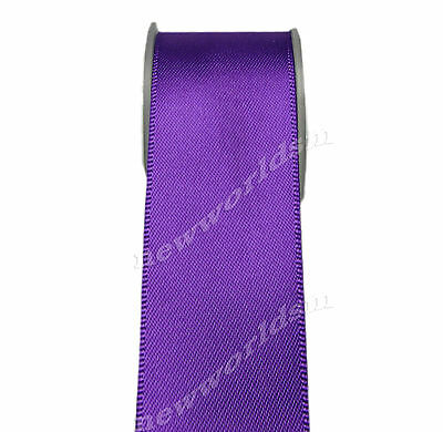 "4y 57mm 2 1/4"" Purple Premium Double Sided Wide Heavy Satin Ribbon Eco FREE PP"